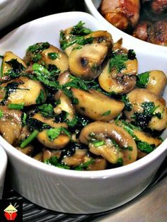 Spanish Garlic Mushrooms. Easy and quick to make and fantastic flavors. Also great as a side dish! | Lovefoodies.com