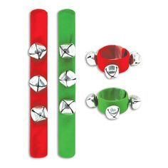 Spread Christmas cheer with these musical bracelets! 8″ red and green fabric covered slap bracelets with 3 jingle bell charms. Not Recommended for Children Unde