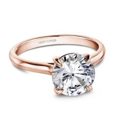 Noam carver solitaire engagement ring setting in rose gold - greenwich st. Round Halo Engagement Rings, Wedding Rings Solitaire, Cushion Cut Engagement Ring, Classic Engagement Rings, Deco Engagement Ring, Engagement Ring Styles, Rose Gold Engagement Ring, Engagement Ring Settings, Contemporary Engagement Rings
