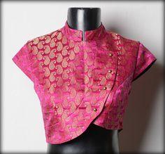 beautiful pink saree blouse  Visit for similar designer blouse at: https://www.etsy.com/shop/JiyaGotaZariLace?section_id=16402837&ref=shopsection_leftnav_2