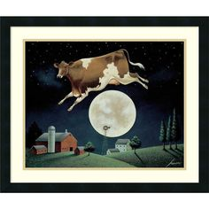 Just like the popular nursery rhyme, a cow is jumping over the moon in this…