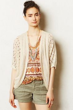 THE CUE Cher Qu Anthropologie cardi Lace shrug sweater pointelle cocoon ivory S Sweater Outfits, Casual Outfits, Cute Outfits, Funky Outfits, Casual Clothes, Work Clothes, Casual Wear, Summer Sweaters, Sweaters For Women