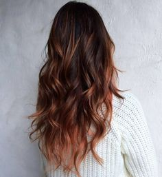 17 Stunning Examples of Balayage Dark Hair Color - Style My Hairs Auburn Balayage, Hair Color Balayage, Hair Highlights, Copper Balayage, Brown Balayage, Haircolor, Hair Color Auburn, Ombre Hair Color, Cool Hair Color