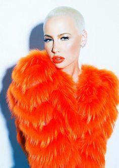Amber Rose orange photoshoot orange fur coat