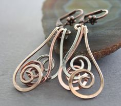 Swirl waves mixed metals earrings  Dangle earrings  by IngoDesign, $24.00