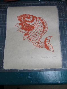 Koi lino block print by the.minouette, via Flickr