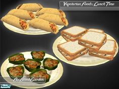Ever wondered what you could serve your vegetarian Sims for lunch? Well wonder no more, this selection of delicious dishes will be a hit with vegetarian and non-vegetarian Sims alike!  Found in TSR...