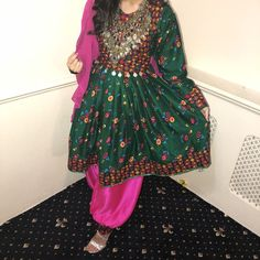Afghan Kuchi Green Color Traditional and Embroidered Frock and Afghan Clothes, Afghan Dresses, Tribal Jewelry, Green Colors, Frocks, Traditional, Best Deals, Skirts, Shopping