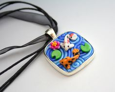 Fimo Koi Necklace Large Square by StarlessClay on Etsy, $22.00