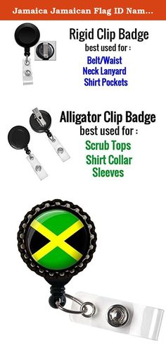 Jamaica Jamaican Flag ID Name Badge Holder Retractable Reel Bottle cap. Bottle Cap is great for waist or lanyard usage ( no alligator clip) More Information about the ID Badge holders : 1. Retractable Reel to Conveniently Keep ID, Key and Cell phone Safe 2.Secure metal clip for easy fasten to pocket, belt, waistband, lanyard, Keychain and more 3. Plastic with silver metal belt clip, Bottle cap sits on the top with design. 4. Size: approx 1.25inch diameter (Retractable nylon cord extends…