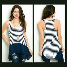 Striped Tank This sleeveless trapeze top features striped print all over and solid trim on hem.   If unsure of what size to order, just ask and I can provide measurements!  Material: 95% rayon 5% spandex   No trades  ✔Reasonable offers considered Tops Tank Tops