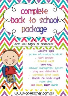 Back to School - A complete classroom set up package over 100 pages on TPT