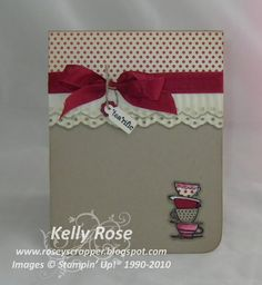Kelly Rose, Independent Stampin Up! Demonstrator: Stampin Up! Morning Cup card with Eyelet lace