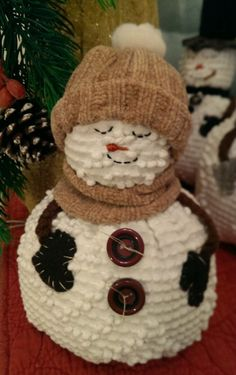 """Bundle of Joy"" Snowman from The Cranberry Smuggler on eBay!  Handmade Vintage White Chenille Hobnail Bedspread Snowman Christmas Decoration"