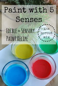 Painting is a perfect activity to help activate your children's 5 senses. Learning can happen for many children by activating all five senses.