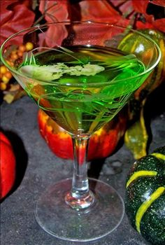 Ghostbuster Martini 1 ounce peach schnapps 1 ounce melon liqueur 3 -5 drops irish cream