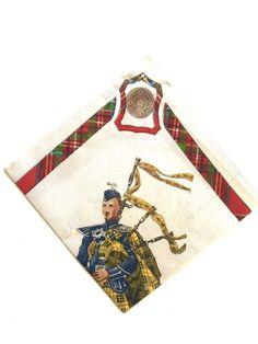 Frae Bonnie Scotland Vintage Souvenir Handkerchief Bagpiper Beige & Red Plaid  | eBay
