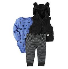 Carter's Baby Boys' 3 Piece Wilderness Print Vest Little Jacket Set