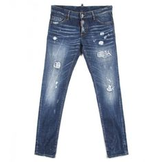Dsquared2 Blue Stretch Cotton 'Slim' Jeans (50065 RSD) ❤ liked on Polyvore featuring men's fashion, men's clothing, men's jeans, mens distressed jeans, mens bleached jeans, mens paint splatter jeans, mens destroyed jeans and mens ripped jeans