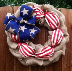 Flag wreath Patriotic wreath Red white and blue. by CreationsbyGia