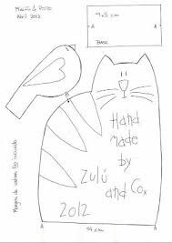Misi y pitito by Zulu and Co, cat &birdie pattern Felt Patterns, Applique Patterns, Sewing Patterns, Cat Crafts, Sewing Crafts, Sewing Projects, Cat Applique, Quilt Labels, Cat Quilt