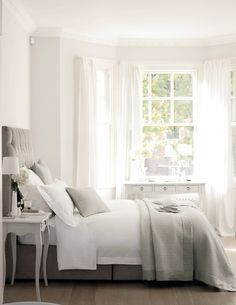 The White Company bedding. Love the colours - so neutral. The window and white…