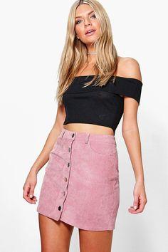 Fallen Button Front Cord Mini Skirt at boohoo.com