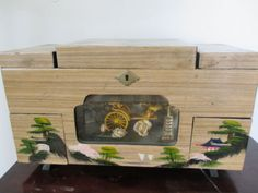 VINTAGE-ASIAN-JAPAN-RICKSHAW-MOVING-WHEELS-LARGE-COLLECTOR-MUSIC-JEWELRY-BOX