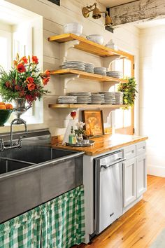 All Dressed Up - Our Favorite Christmas Kitchens - Southernliving. Switch out your everyday linens for festive holiday-inspired fabrics like a panel of green gingham.