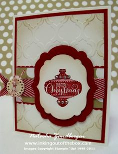 Stamps – Best of Christmas Ink & Paper – Season of Style DSP, Cherry Cobbler, Whisper White, Crumb Cake Ink Accessories – Big Shot & Modern Mosaic embossing folder, Labels Collection Framelits, Dotted Scallop Ribbon Edge punch, Chevron Ribbon, Very Vintage Designer button, baker's twine, dimensionals, rhinestone gems
