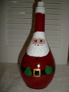 Santa Claus Hand Painted Wine Bottle by teresasews on Etsy, $25.00
