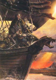 The Black Ships. :  Eomer se había tranquilizado, y tenía ahora la mente clara. Hizo sonar los cuernos para reunir alrededor del estandarte a los hombres que pudieran llegar hasta él; pues se proponía levantar al fin un muro de escudos,  y resistir, y combatir a pie hasta que cayera el último hombre, y llevar a cabo en los campos de Pelennor hazañas dignas de ser cantadas, aunque nadie quedase con vida en el Oeste para recordar al último Rey de