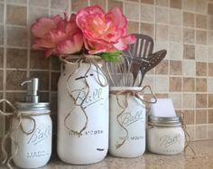 Set of 3 Hand-Painted Mason Jar Kitchen Set by MidnightOwlCandleCo