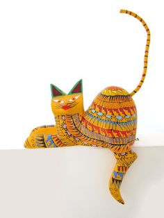 Relaxed Cat   Cat Alebrije   Yellow   Chiapas Bazaar   Handmade Mexican Blouses, Accessories & Home Decor from Rural Artisans