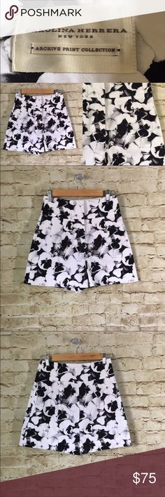 """Carolina Herrera Archive Collection Pansies Shorts Name Brand: Carolina Herrera  Condition: Pre Owned, Excellent Condition never worn, No flaws to note  Size: 2 (see measurements)  Color: Black White  Style: High Waisted Shorts  Material: Missing Tag but feels like cotton blend with stretch   Always check the measurements, label sizes are not consistent.   Measurements are approx and are of item laying flat and unstreched: Waist: 13"""" Rise: 15"""" Inseam: 3"""" Length: 16.5"""" Carolina Herrera Shorts"""
