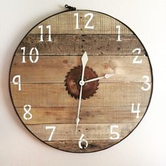 A personal favorite from my Etsy shop https://www.etsy.com/listing/238263459/28-pallet-clock-with-horse-tack-sample