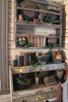 Primitive Living Room, Primitive Country Homes, Primitive Furniture, Primitive Kitchen, Farmhouse Furniture, Farmhouse Decor, Primitive Antiques, Country Furniture, Country Farmhouse