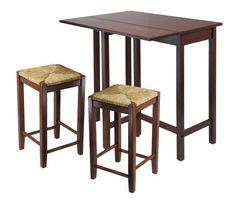 Antique Walnut Lynwood 3pc Drop Leaf Table with Rush Seat Stool - A.M.B. Furniture & Design