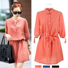 $9.50 New Fashion Korean Women's Solid Color 1/2 Sleeve Short Office Lady Dress 3 Colors