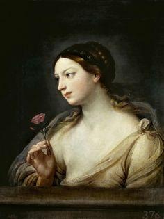 Reni , Guido (Italian, 1575-1642) -- Девушка с розой, 1630-35, 81 см x 62 см, холст, масло