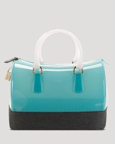 Furla Satchel - Denim Trim Candy