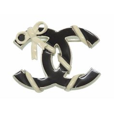 #chanel Coco Mark Ribbon Motif Brooch Black White Women's 0482