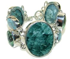 $256.10 Fabulous AAA Quality Russian Seraphinite Sterling Silver Bracelet at www.SilverRushStyle.com #bracelet #handmade #jewelry #silver #seraphinite