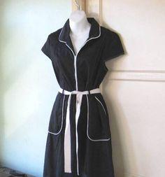 Vtg '90s Retro Diner Dress Black w/ White Piping Knee Length Fit/Flare Medium-Lg #CitiClothing #DinerDressWaitress