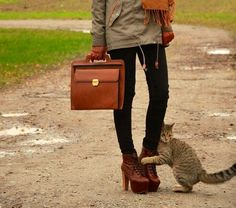 The kitty is so cute:) fall outfit.