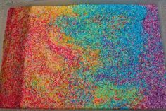 """Rainbow Rice Art-use rubbing alcohol  to """"set"""" the food coloring color  with the rice.  Colored rice would also be a GREAT CHEAP vase filler!"""