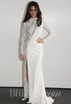 Brides.com: Jovani - Spring 2014. Jovani long sleeve sheath wedding dress with right side of gown beaded illusion and left side ruched satin.