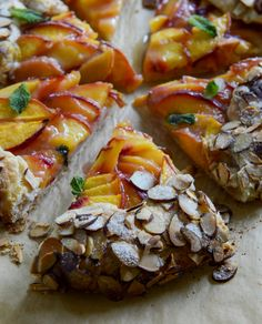 Ginger Peach Galette with Almond Crust. Not sure what a Galette is but this looks awesome. Delicious Desserts, Dessert Recipes, Yummy Food, Dessert Tarts, Wine Recipes, Cooking Recipes, Pizza Recipes, Galette Recipe, Ginger Peach
