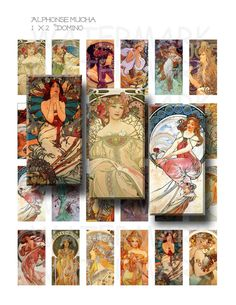 Alphonse Mucha Art  Digital Collage Sheet  1 x 2 inch by OldMarket