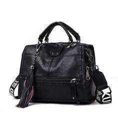 Vintage Handbags Black Leather Handbag Big Bags Tophandle Bags Casual Tote Sac A Main Femme Color Black Black Leather Handbags, Leather Purses, Leather Tassel, Leather Bag, Real Leather, Soft Leather, Leather Crossbody, Stilettos, Purses